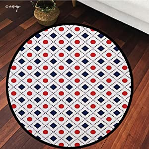 №11029 Round Area Rug Floor Kitchen Carpet, Americana Decor,Big Red Dots Squares and Dashed Lines in Flag Colors,Navy Blue Red and White, for Home Decor