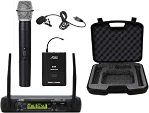 Audio2000'S S6074L UHF Dual-Channel Wireless Microphone System with One Handheld Wireless Microphone, One Body-Pack Wireless Transmitter, and One Lavalier Microphone