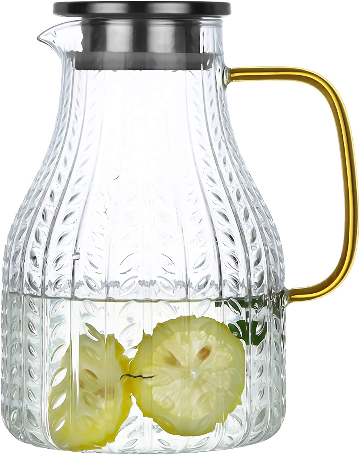 WUWEOT 74 OZ Glass Pitcher with Stainless Steel Lid and Spout, Water Carafe Beverage Pitcher for Cold Water, Hot Water, Homemade Iced Tea and Juice
