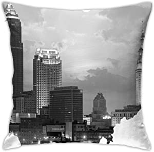 Skyline in Ohio Shape Tapestry Throw Pillowcase, Car Cushion,Sofa, Pillowcase, Interior Decoration (45cmx45cm)