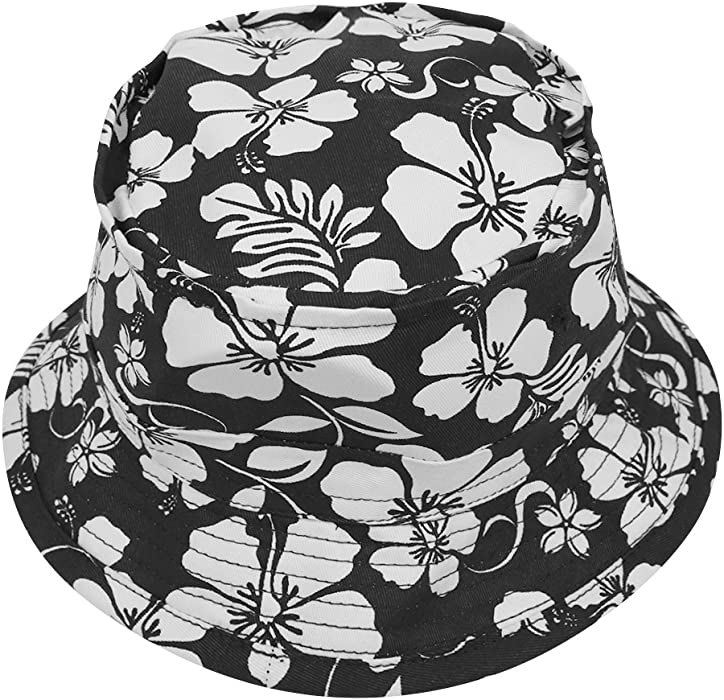 5035e797a92368 Armycrew Hibiscus Hawaiian Tropical Floral Print Fisherman's Bucket Hat -  Black ...