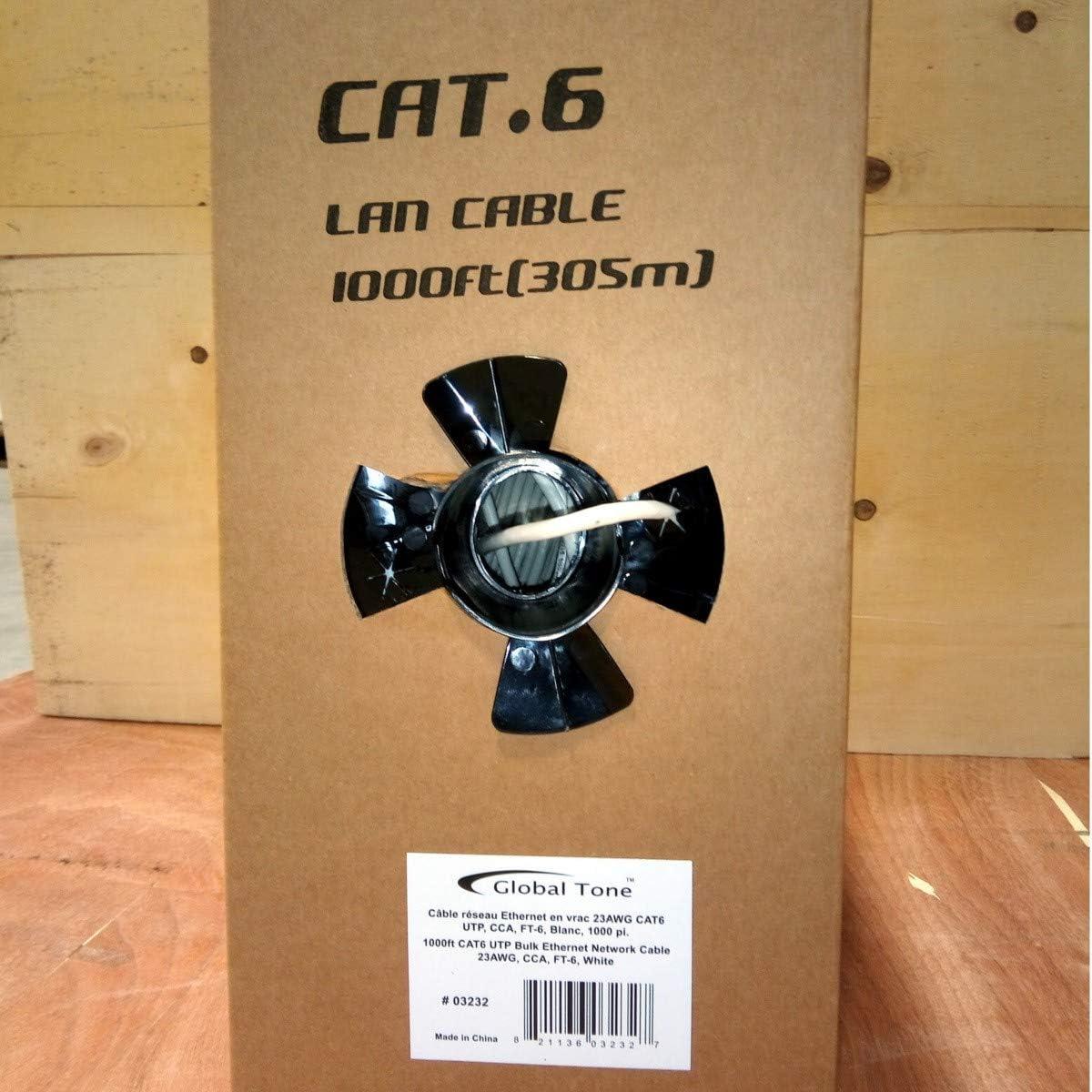 GlobalTone 1000ft 23AWG CAT6 UTP Bulk Network Cable PVC CCA Grade Grey