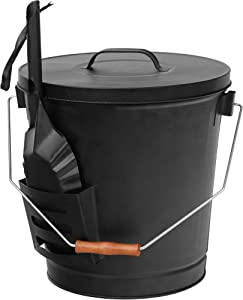 F2C 5.15 Gallon Ash Bucket with Lid and Shovel Galvanized Iron Ash Pail for Fireplace, Fire Pits, Wood Burning Stoves
