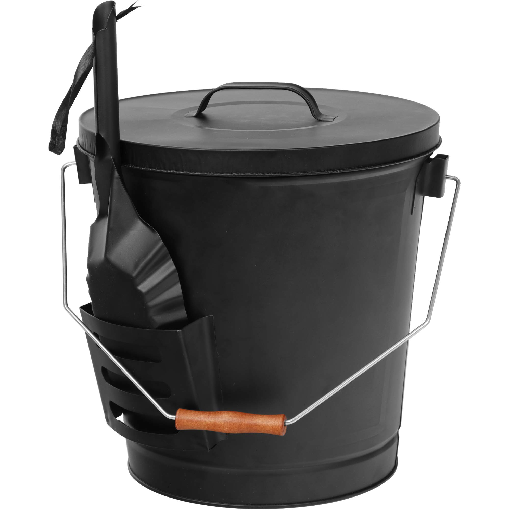 Wood Burning Stoves-Hearth Accessories Home-Complete 4.75 Gallon Black Ash Bucket with Lid and Shovel-Essential Tools for Fireplaces Fire Pits