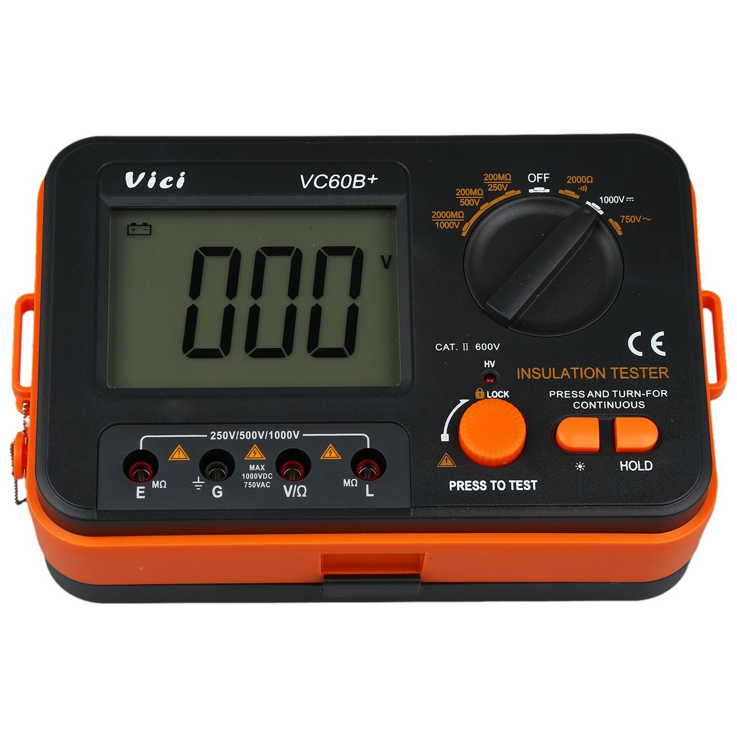 Digital Insulation Tester - VICI VC60B Resistor Instrument Digital Insulation Tester Megohm Megger Tension 1KV Backlight LED Alarm 044090
