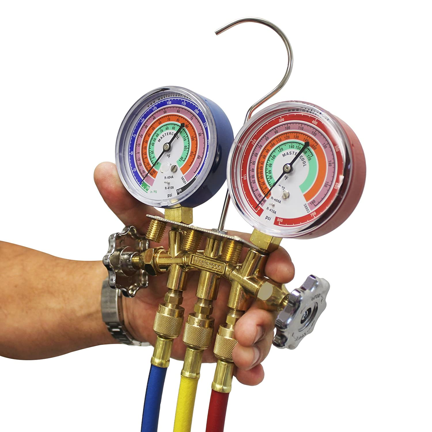 3-60 Inch Hoses and Standard 1//4 Inch Fittings R404A 2-Way Manifold Gauge Set with 3-1//8 Inch Gauges R22 Mastercool 59161 Brass R410A