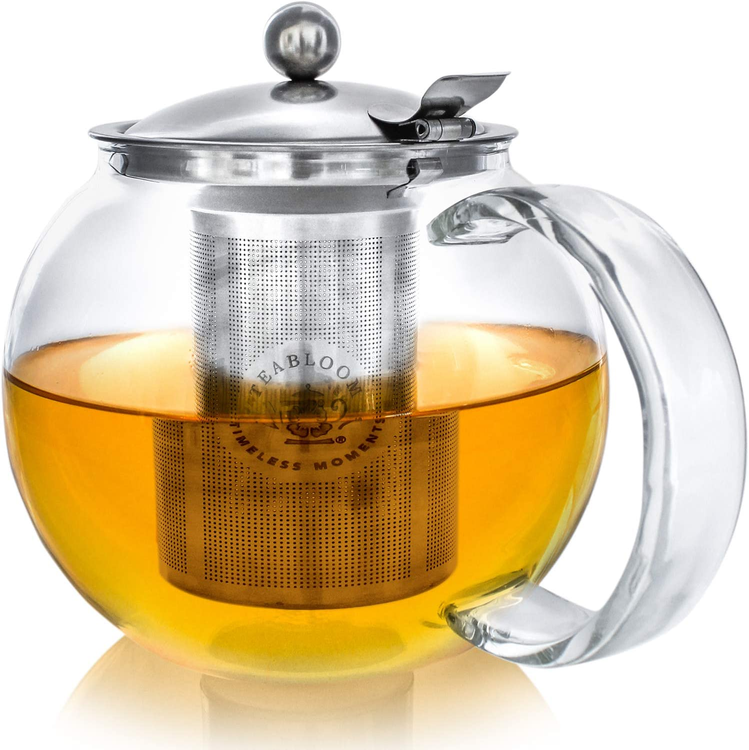 Amazon Com Stovetop Safe Lead Free Glass Teapot Kettle 40 Oz 1 2 L Capacity Removable Stainless Steel Infuser Great For Loose Leaf Tea Blooming Tea Tea Bags Fruit