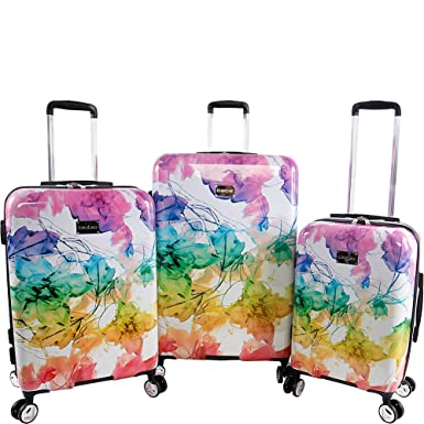 a96267f50 Amazon.com | BEBE Women's Megan 3pc Suitcase Set with Spinner Wheels,  Rainbow | Luggage Sets
