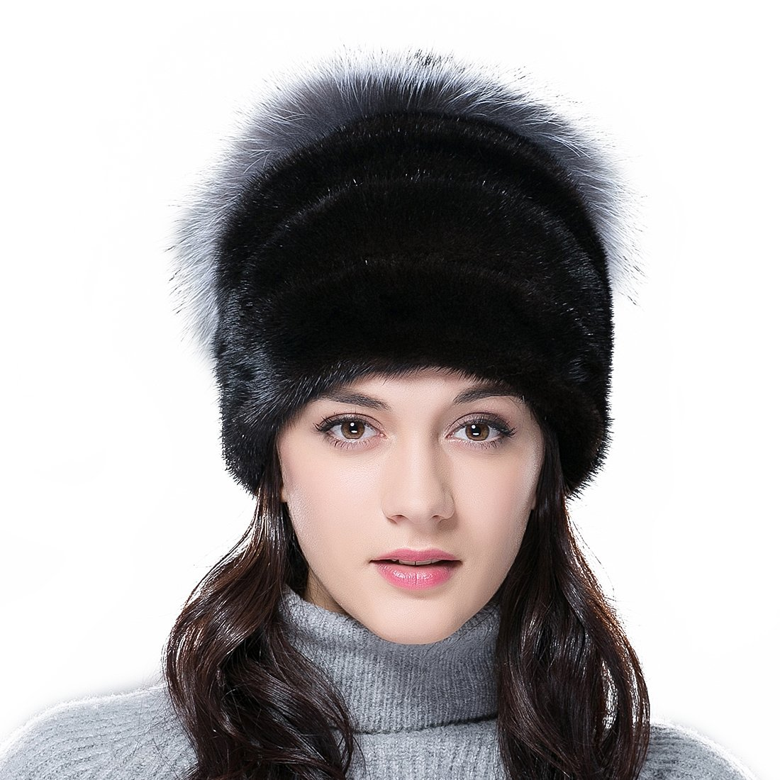 URSFUR Women's Mink Full Fur Skull Caps with Silver Fox Top (One Size Fits All, Black)