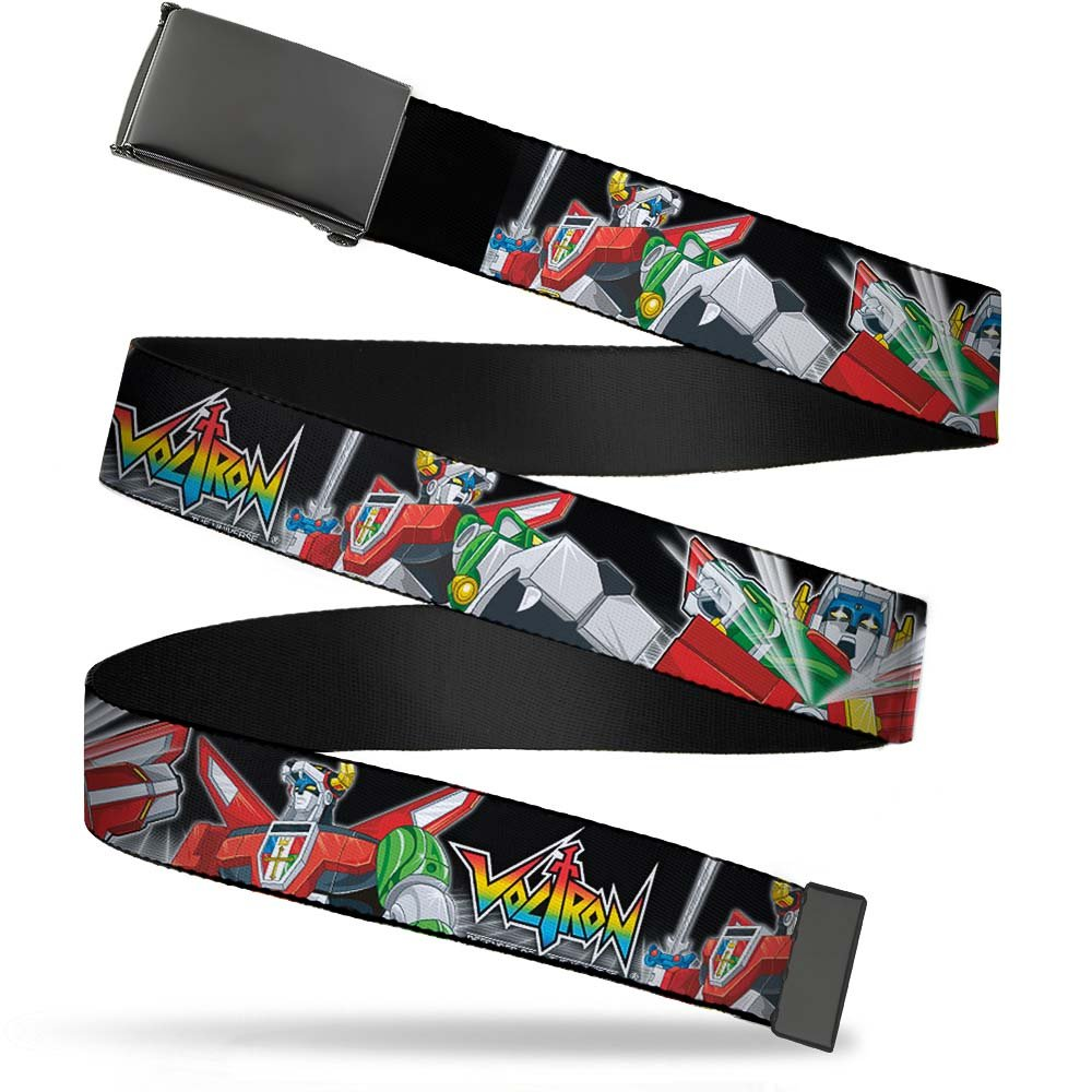 Voltron Animated TV Series Action Shot Collage Web Belt Buckle Down