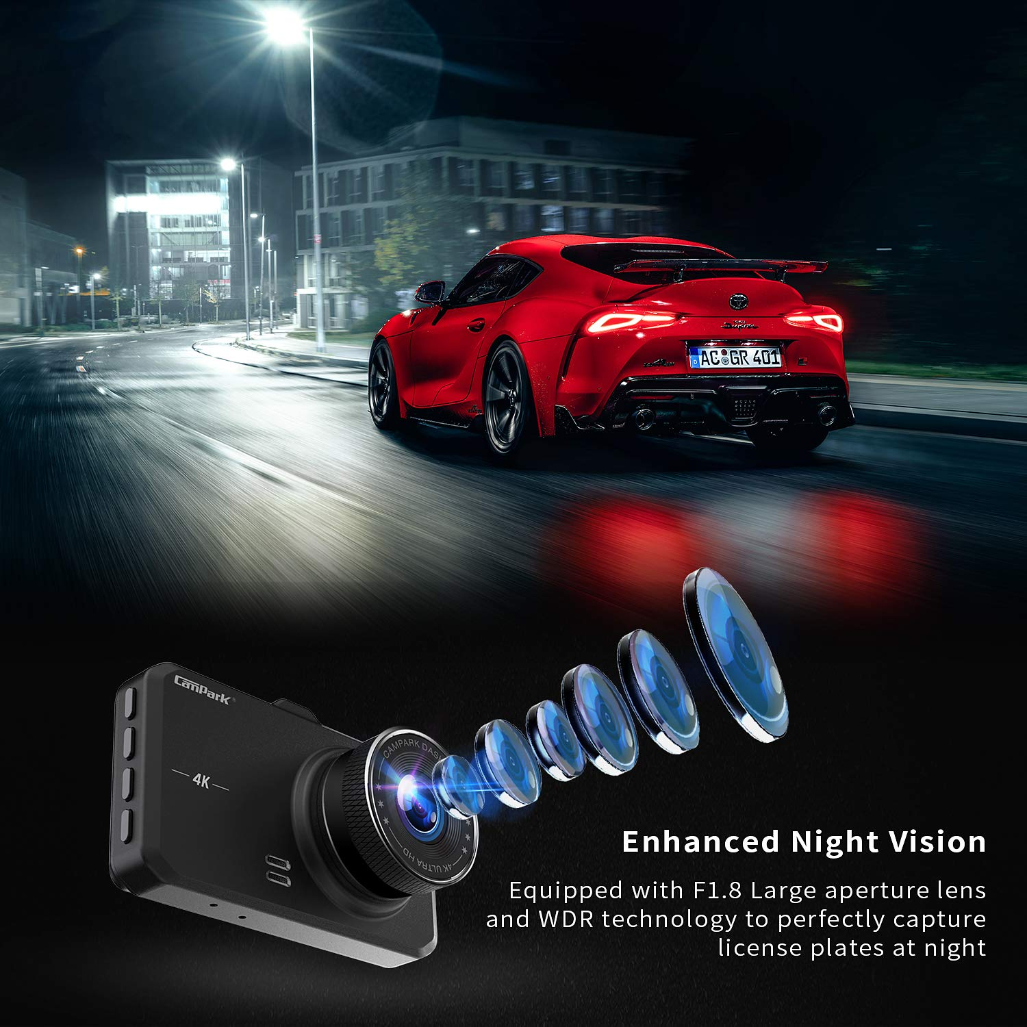 Campark Dash Cam 4K UHD DVR Driving Recorder Camera for Cars Dashboard with 3 LCD 170/°Wide Angle Night Vision G-Sensor Parking Monitor WDR Motion Detection