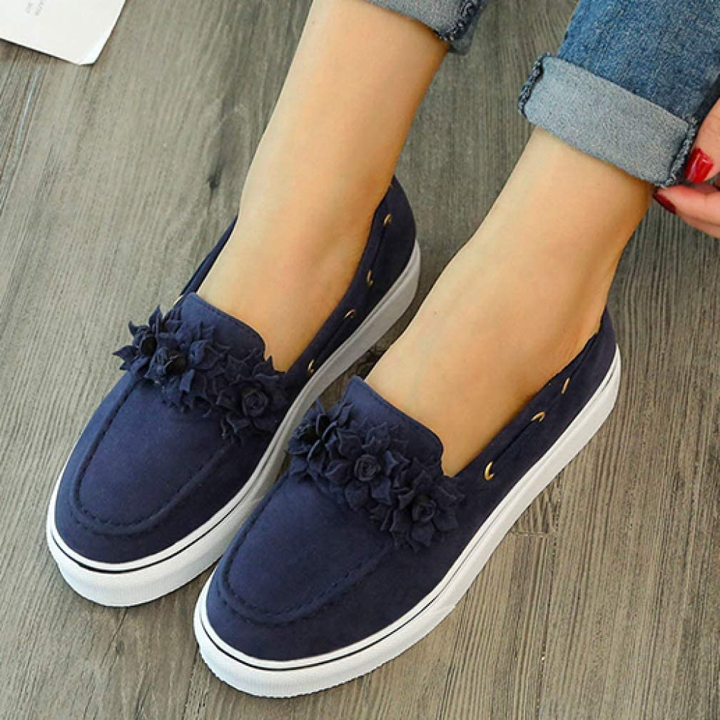 Femmes Chunky Sneakers Slip on Suede Loafers Round Toe Platform Wedges Shoes Shallow Mouth Walking Flats Respirant Trainers Noir