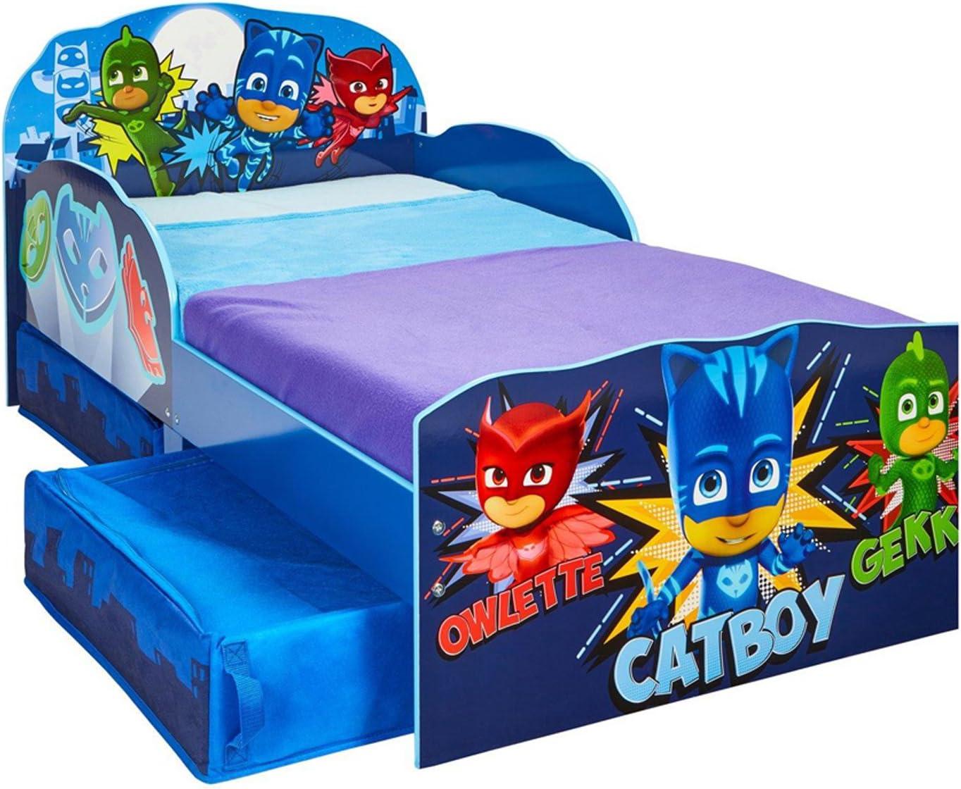 Cama infantil en MDF, colores azul, PJ Masks – Dim: L 143 x p ...