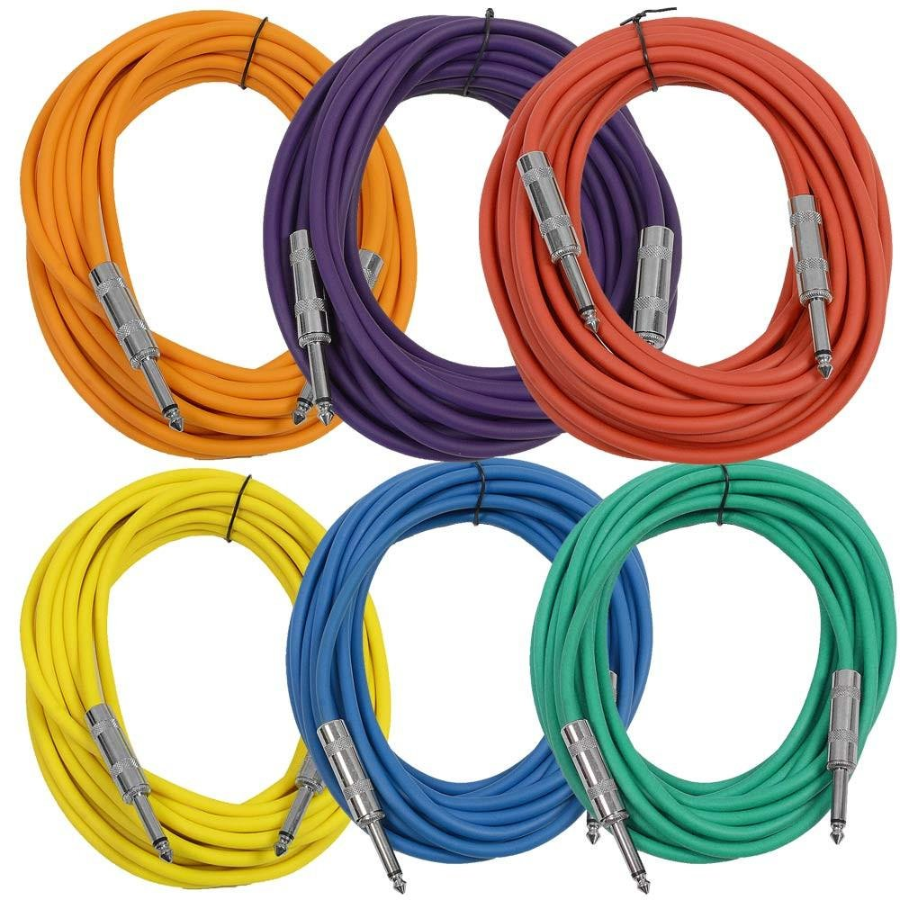 Seismic Audio SASTSX-25BGORYP 25-Feet TS 1/4-Inch Guitar, Instrument, or Patch Cable, Colored