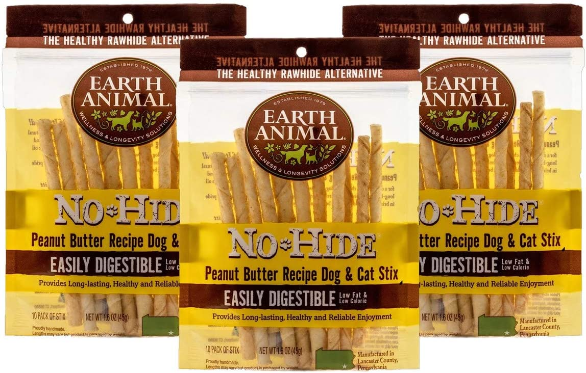 Earth Animal 30 Pack of No-Hide Peanut Butter Stix Dog Chews, Vegetarian Rawhide Alternative