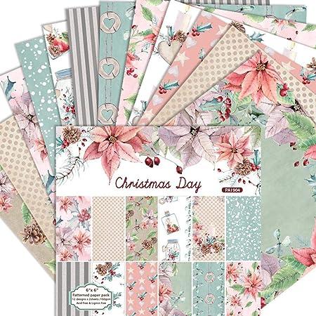 flower205 24 Hojas De Paper Pack Scrapbooking Papel De Patrón A Una Cara De 6 Pulgadas