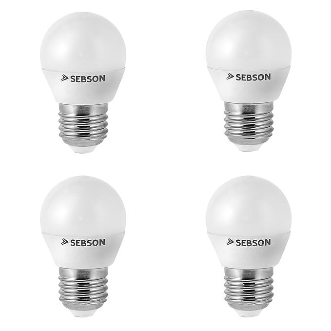 SEBSON® 4x RA95 + flicker free, E27 Bombilla LED 6W, Calido Blanca 2700K, Equivale de 35W: Amazon.es: Iluminación
