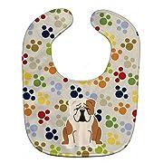 Caroline's Treasures Pawprints Baby Bib, English Bulldog Fawn White, Large