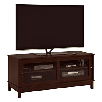 Amazon Com Ameriwood Basics Mcclay Tv Stand With Sliding Glass