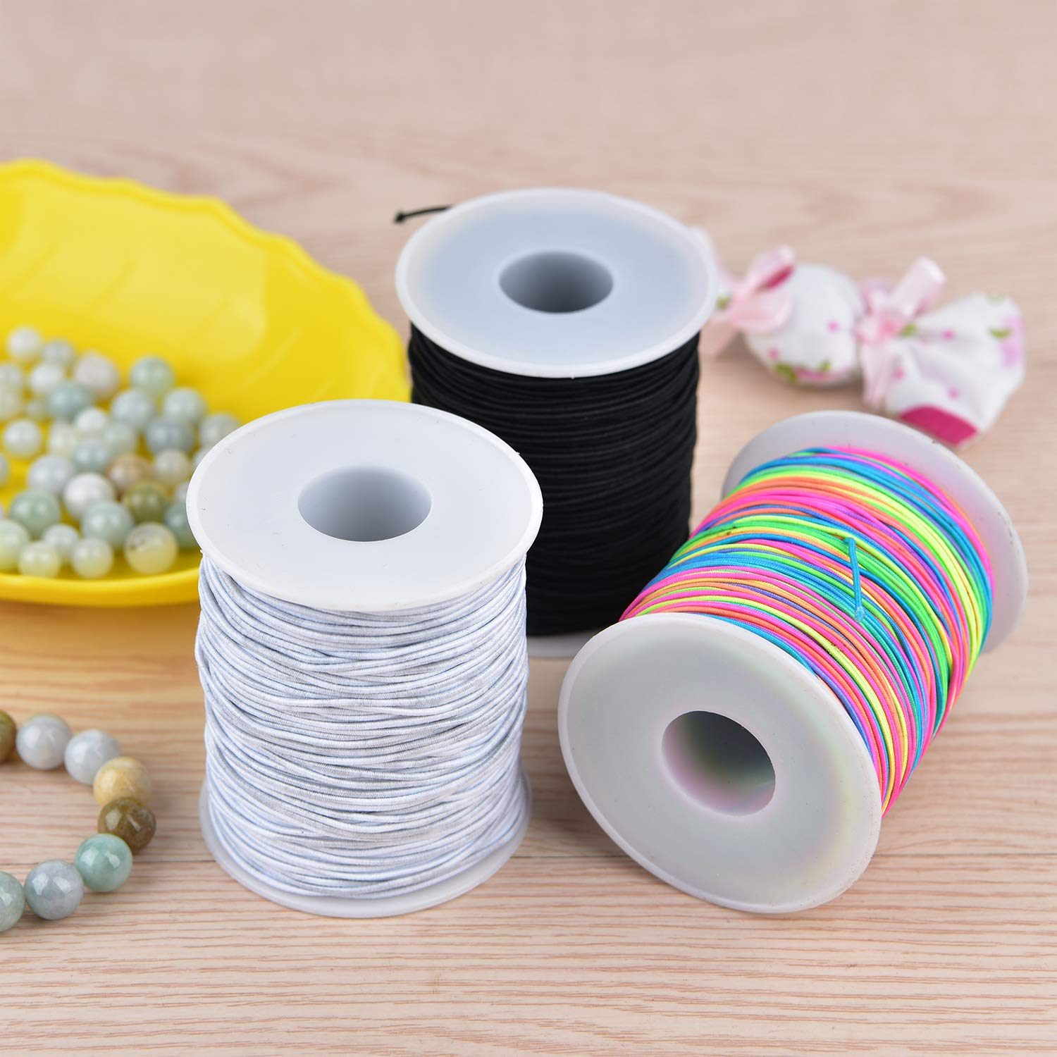 Black Zealor 2 Roll 1 mm Elastic String Cord Elastic Thread Beading String Cord for Jewelry Making Bracelets Beading 100 Meters//Roll