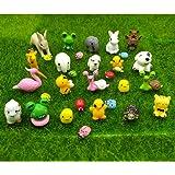 EMiEN 31 Pieces Mini Animals Miniature Ornament Kits,Tiny Animals Figurines,Fairy Garden Accessories,Fairy Garden Supplies,Fa