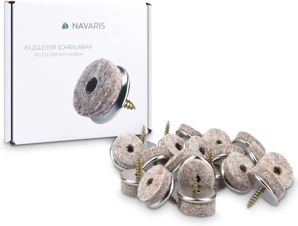 20x Navaris Felt Gliders with Screw Chair Glides Floor Protector 20mm Felt and Metal Protection for Furniture Chairs Parquet Laminate Round