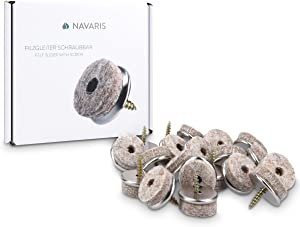 """Navaris Felt Pads for Furniture (20 Pieces) - 1-1/8"""" Round Screw-in Pad Sliders for Chair Legs and Feet - Floor Gliders to Protect Hardwood Floors"""