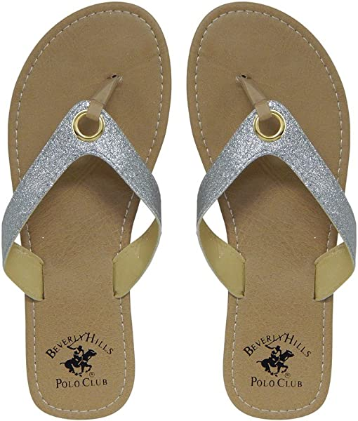promo code 343b5 4c910 Beverly Hills Polo Club Glimmer Women s Sparkle Sandal Flip Flop Thong (6  US) Silver
