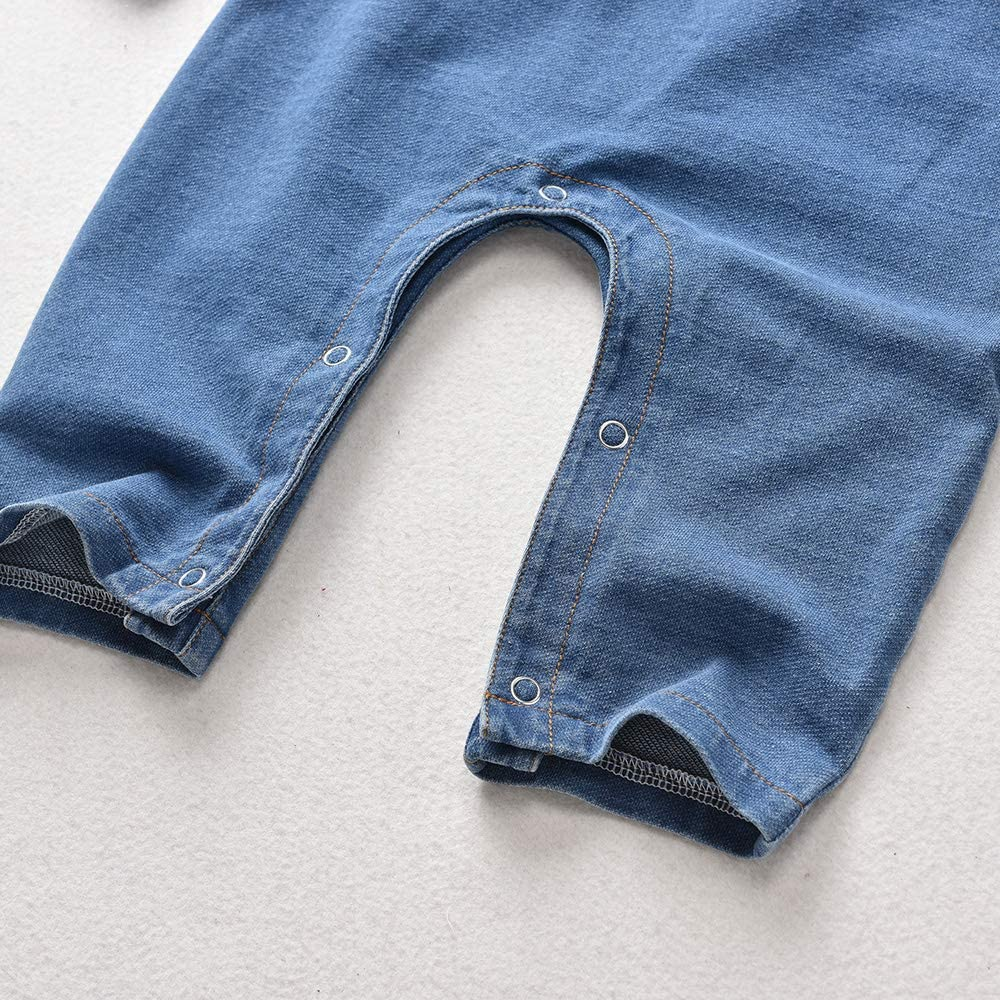 HINTINA Baby Romper Jumpsuit Long Sleeve Denim Baby Boy Outfits Baby Girl Cowboy Clothes for 0-3 Years