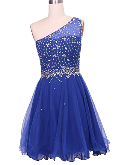 Beading One Shoulder Prom Dresses Illusion Back Tutu Homecoming Gown Crystal Royal Size 6