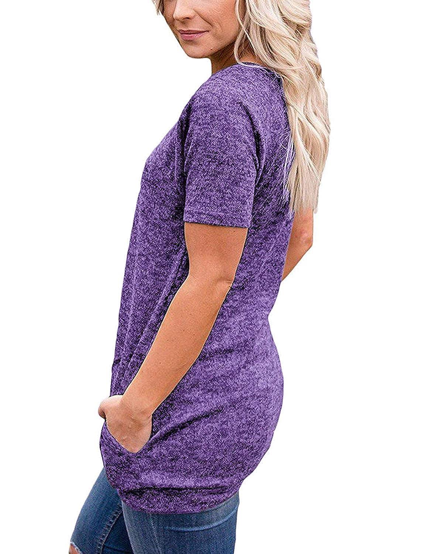 iClosam T-Shirt da Donna Casual con Scollo a O Manica Corta Tunica