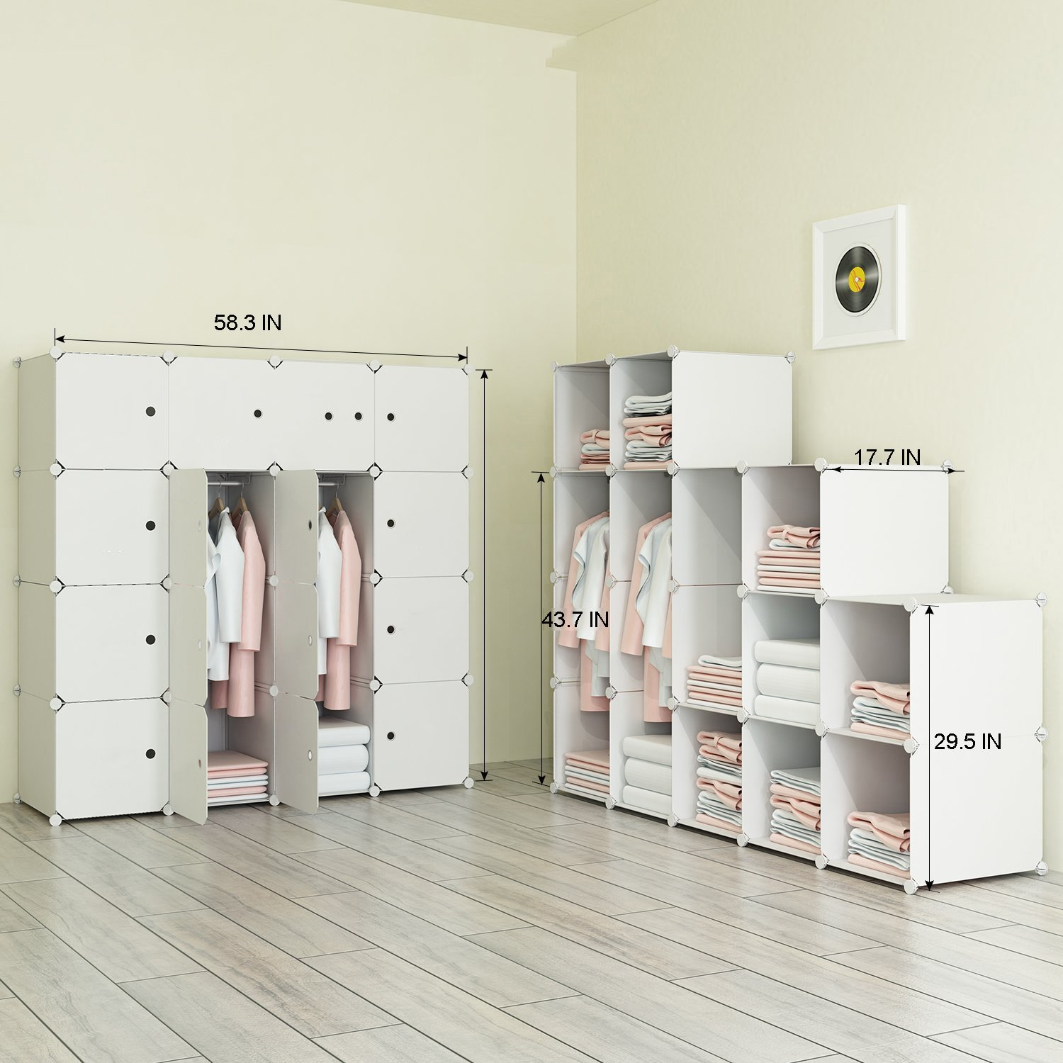 Modular Cabinet for Space Saving Towels Ideal Storage Organizer Cube for Books MEGAFUTURE Wood Pattern Portable Wardrobe Closet for Hanging Clothes Combination Armoire 8-Cube Toys