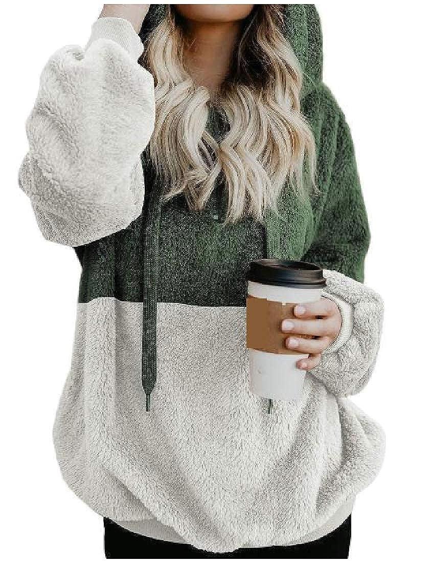 KaWaYi Women Stitching Outwear Cashmere Sweater Contrast Color Tunic Hoodie Sweatshirts