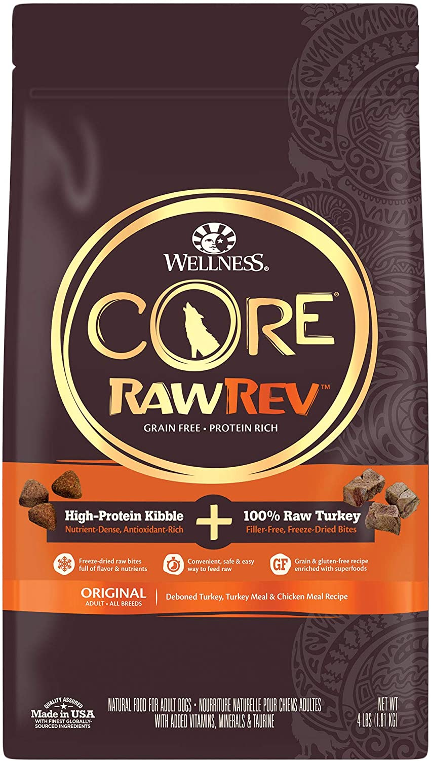 Wellness CORE RawRev Natural Grain Free Dry Dog Food, Original Turkey & Chicken with Freeze Dried Turkey, 4-Pound Bag