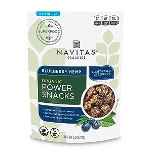Navitas Organics Superfood Power Snacks, Blueberry Hemp, 8oz. Bag - Organic, Non-GMO, Gluten-Free
