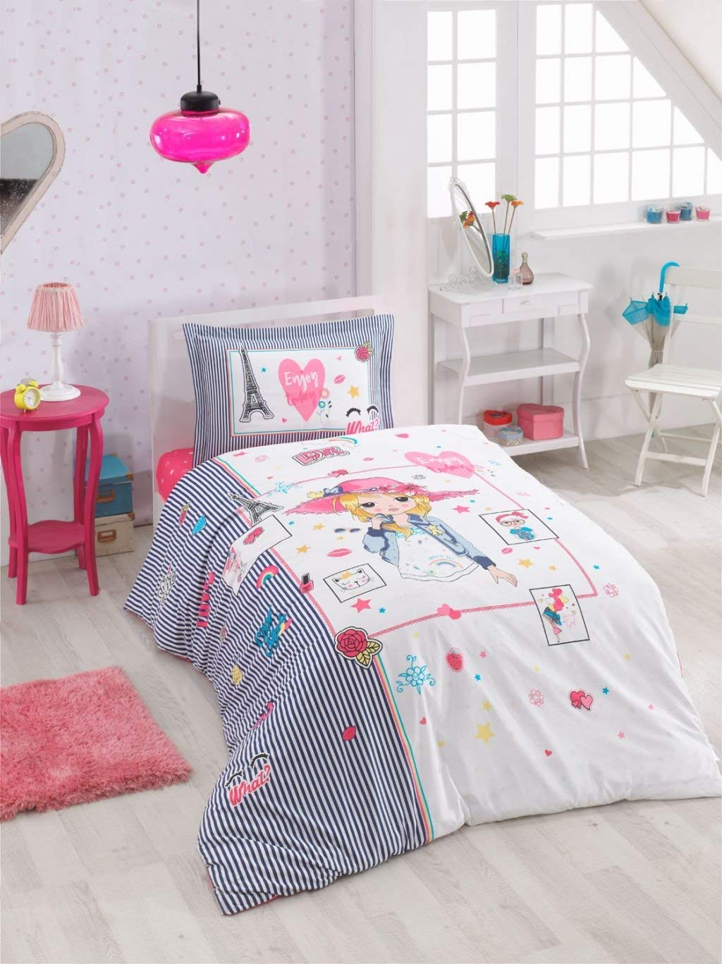 Astrea Textiles Girls Kids Pink Duvet Cover Sets Single Twin Size Bed Quilt Cover Set - 100% Cotton - Multi Colour Printed 3 Pieces With Fitted Sheet For Girls