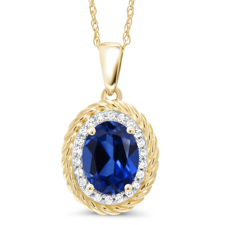 Gem Stone King 1.75 Ct Oval Blue Simulated Sapphire White Diamond 14K Yellow Gold Pendant