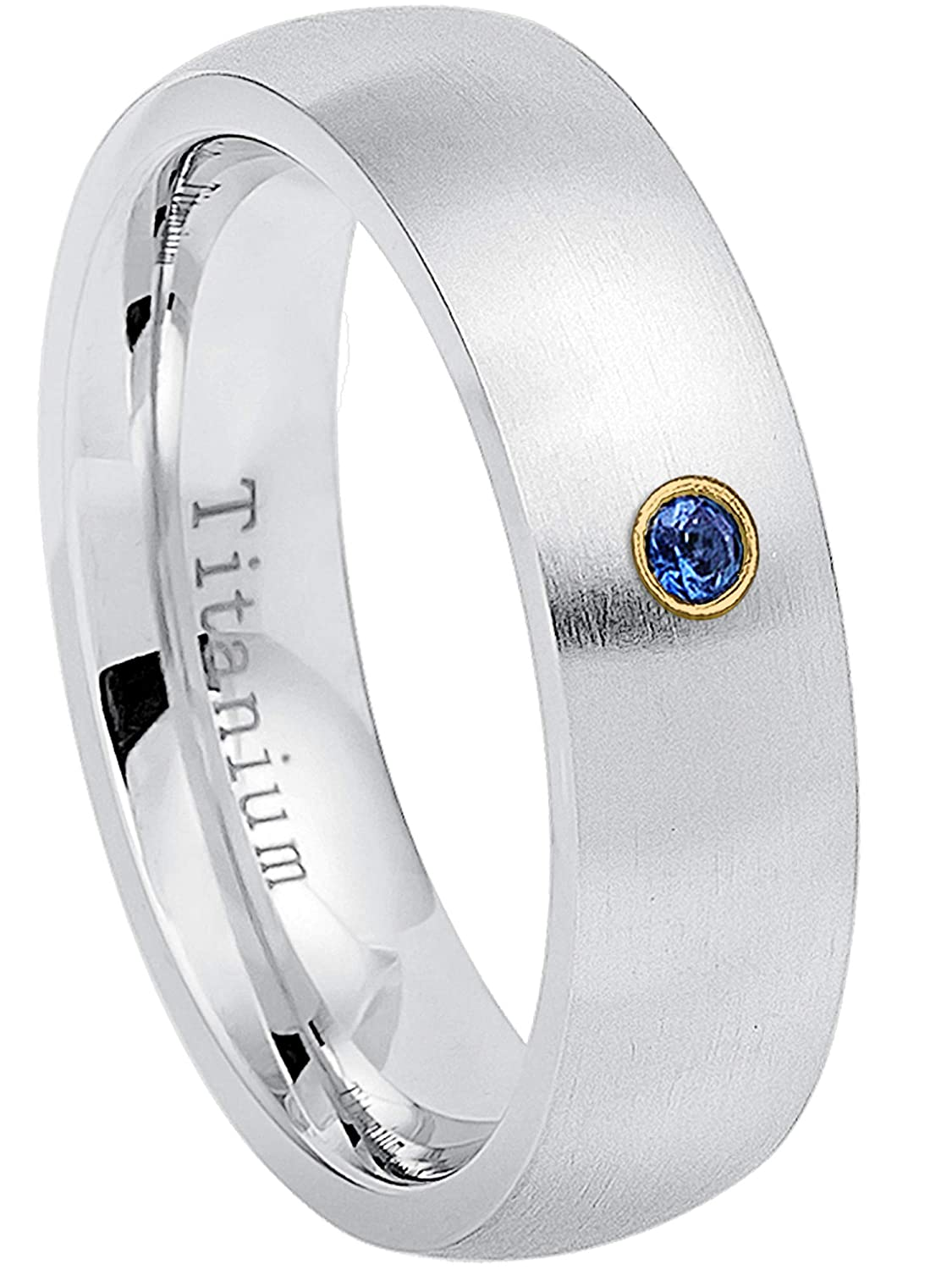 6MM Brushed Finish Comfort Fit Classic Dome White Wedding Band September Birthstone Ring 0.07ct Blue Sapphire Solitaire Titanium Ring 9