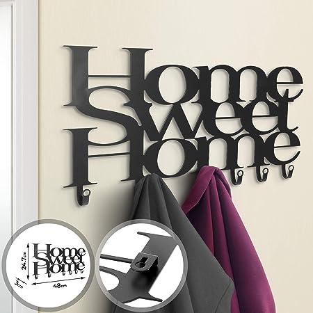 Appendiabiti Design da Parete 6 Ganci Ferro Battuto Nero Home Sweet Home