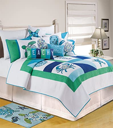 C F Home 82063.6886 Meridian Waters Quilt, Twin, Blue
