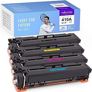 myCartridge SUPCOLOR Compatible Toner Cartridge Replacement for HP 410A CF410A CF411A CF412A CF413A for Color Laserjet Pro MFP M477fdn M477fdw M477fnw M452dn M452dw M452nw M377dw, 4-Pack
