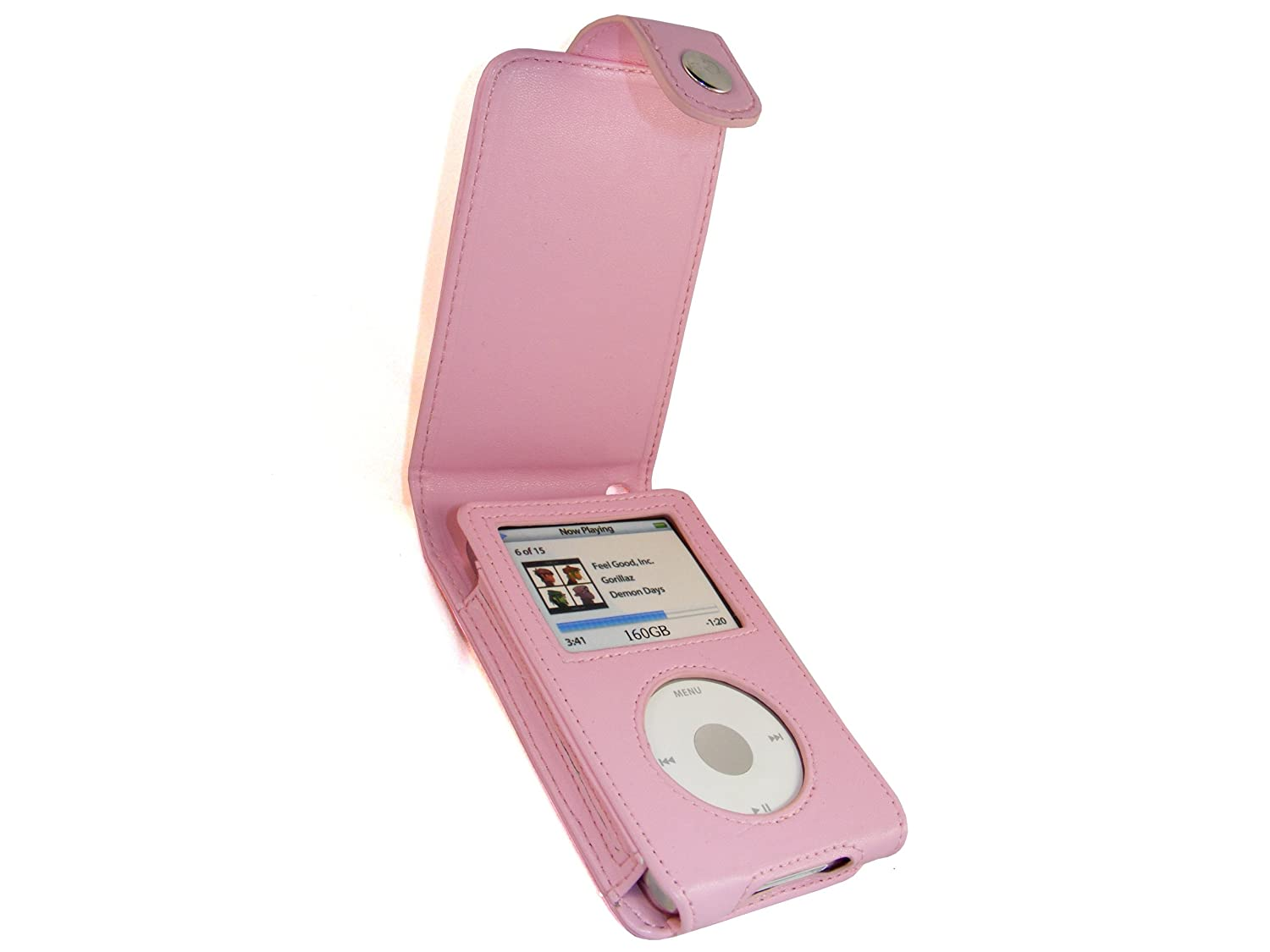 igadgitz Pink Leather Case Cover for Apple iPod Classic 80GB, 120GB & Latest 6th Generation 160gb launched Sept 09 + Belt Clip & Screen Protector