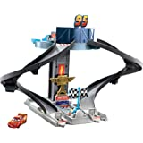 Disney Pixar Cars Rust-Eze Racing Tower Race Track Toy with Training Areas, Spiral Track, Lightning McQueen Vehicle for…
