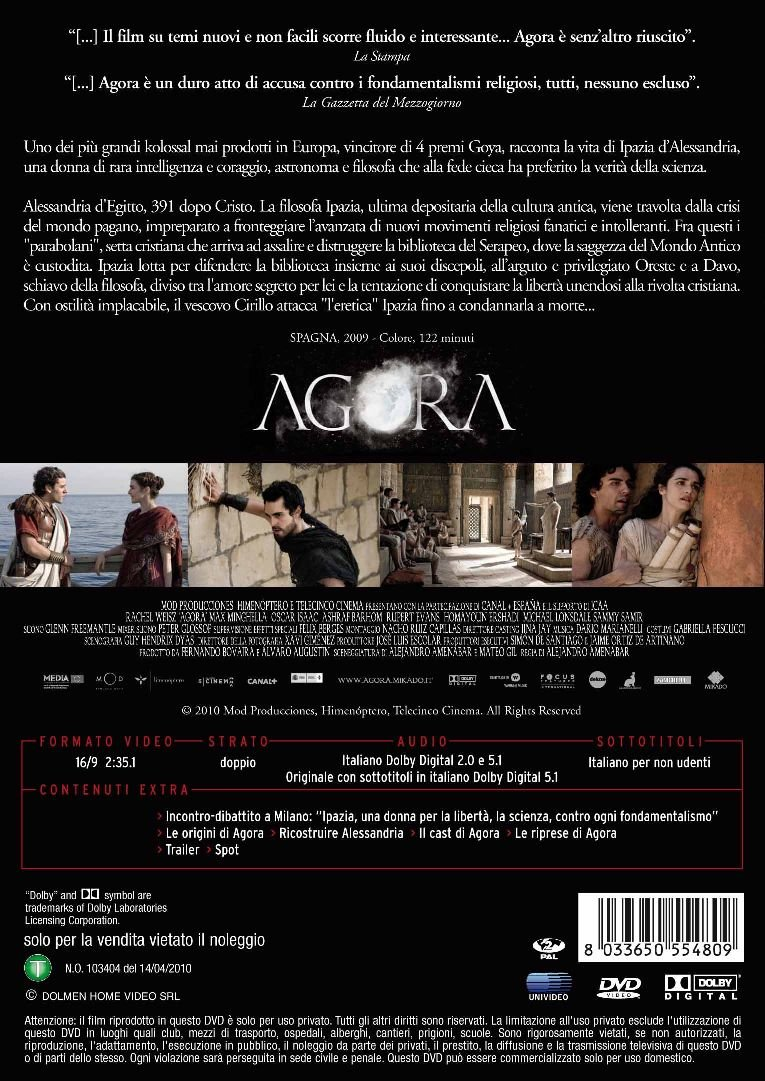 Agora [Italia] [DVD]: Amazon.es: Rupert Evans, Michael Lonsdale, Dario Marianelli, Max Minghella, Sami Samir, Rachel Weisz, Alejandro Amenabar: Cine y ...