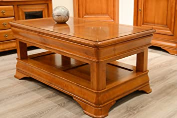 jeanne table basse rectangulaire 1 tiroir merisier massif meuble house - Table Merisier Massif