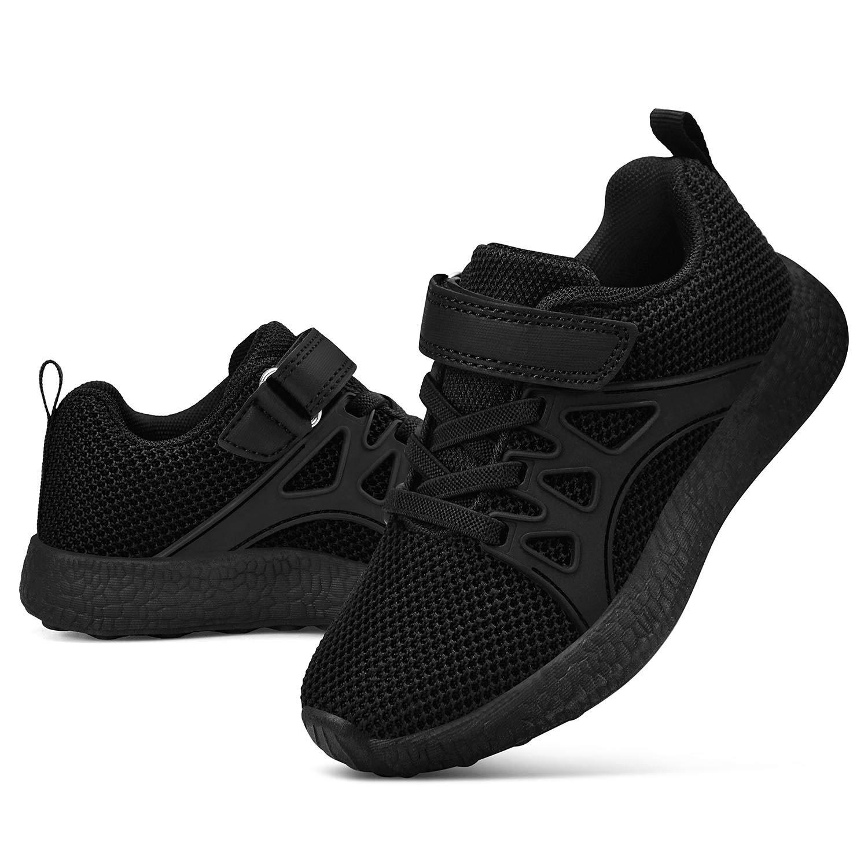 Biacolum Boy's Tennis Shoes Mesh Athletic Basketball Shoes Kids Black Size 1 Little Kid