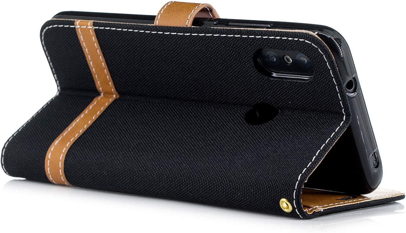 LOBFE12806 Black Xiaomi Redmi 6Pro Case Lomogo Leather Wallet Case with Kickstand Card Holder Shockproof Flip Case Cover for Xiaomi Redmi 6 Pro//Mi A2 Lite