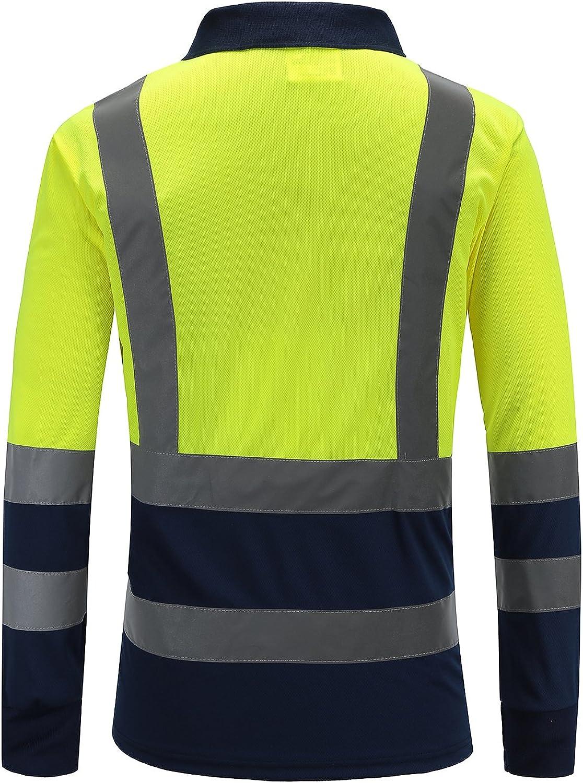 Hi viz Marinekragen Sicherheits Arbeitskleidung Hoch Visibility Polo T Shirt Sicherheits-Polo-Shirt Langarm