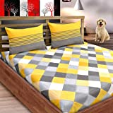 Loreto Premium 144 TC Pure Cotton Double Bedsheet with 2 Pillow Covers, Multi Colour