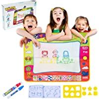 Aquadoodle Mat - Aqua Doodle Magic Mat Large Water Drawing Mat Toddlers Painting Board Writing Mats with 2 Magic Water Pens, 6 Molds and Drawing Booklet Kids Toys for Boys Girls Educational Gifts